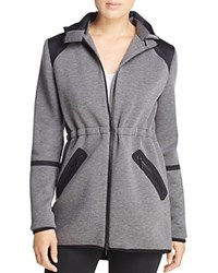 Elie Tahari Sport Piper Color Block Hooded Jacket Charcoal Melange Black