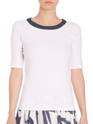 Peserico Half Sleeve Chiffon Trimmed Tee White Navy
