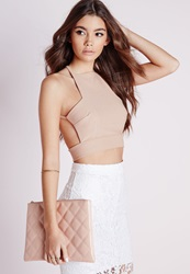 Missguided Cross Back Crepe Crop Top Taupe Grey