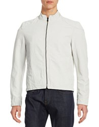 Black Brown Cotton Linen Bomber Jacket Ivory