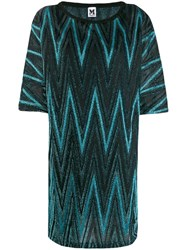 M Missoni Zigzag Metallic Shift Dress Blue