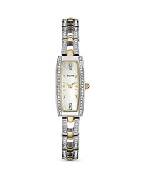 Bulova Crystal Watch 30Mm White Gold
