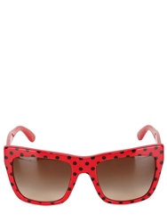 Dolce And Gabbana Squared Polka Dot Sunglasses Red Black