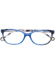 Carolina Herrera Rectangular Shape Glasses Blue
