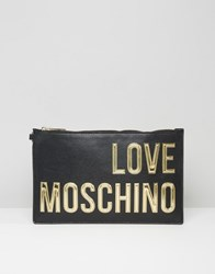 Love Moschino Clutch Bag With Coin Purse Black