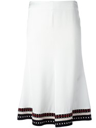 Victoria Beckham Flared Midi Skirt Women Cotton Polyamide Spandex Elastane Viscose 8 White