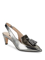 French Connection Leather Slingback Heels Pewter