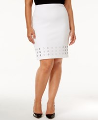 Calvin Klein Plus Size Grommet Trim Pencil Skirt White
