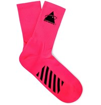 Off White Embroidered Logo Intarsia Stretch Knit Socks Pink