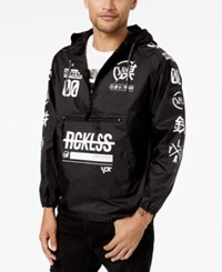 Young And Reckless Men's Strike Thru Graphic Print Windbreaker Black