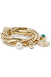Elizabeth And James Gold Tone Crystal Faux Pearl Stone Ring Gold