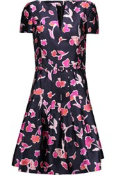 Oscar De La Renta Printed Cotton And Silk Blend Dress Midnight Blue