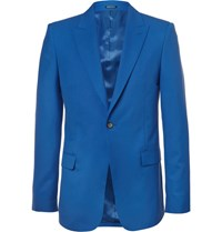 Alexander Mcqueen Blue Slim Fit Wool Blazer Blue