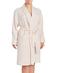 Lord And Taylor Waffle Knit Long Robe Pink