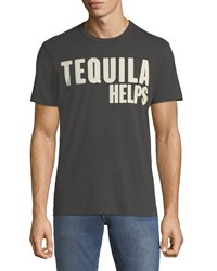 Chaser Tequila Helps Crewneck Short Sleeve Cotton Tee Black