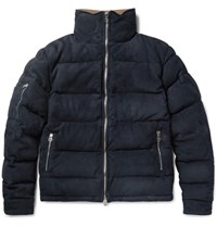 Michael Bastian Corduroy Trimmed Quilted Suede Down Jacket Navy