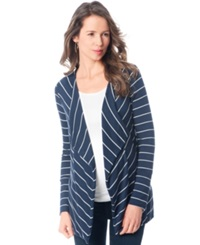 A Pea In The Pod Maternity Striped Open Front Cardigan Midnight White