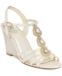 Adrianna Papell Kristen Evening Wedge Sandals Women's Shoes Pearl