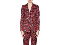 Dries Van Noten Peacock Feather Jacquard Two Button Blazer Red