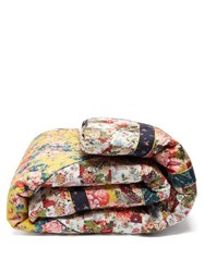 Horror Vacui Floral Print Quilted Cotton Blanket Multi