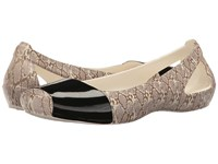 Crocs Sienna Shiny Animal Print Snake Women's Flat Shoes Beige