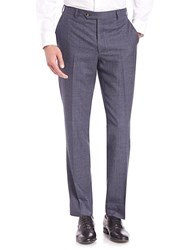 Saks Fifth Avenue Collection Houndstooth Wool Trousers Blue