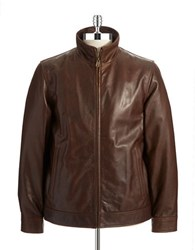 Vince Camuto Leather Moto Jacket Brown