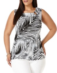 Rafaella Plus Plus Shaded Zebra Double Bar Tank Top