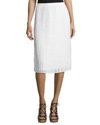 Neiman Marcus Pleated Floral Lace Midi Skirt Ivory