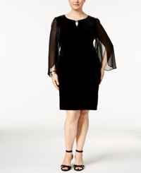 Connected Plus Size Velvet Illusion Angel Sleeve Dress Black