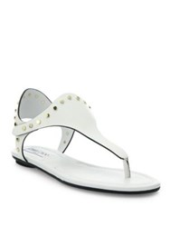 Jimmy Choo Dara Studded Leather T Strap Sandals Chalk Black