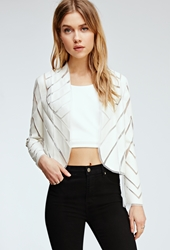 Forever 21 Faux Leather Cutout Jacket Cream