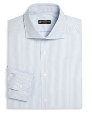 Corneliani Regular Fit Dress Shirt Aqua Stripe