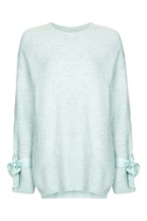 Topshop Mohair Mix Tie Sleeve Jumper Sea Blue