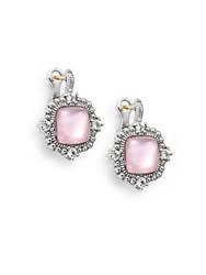 Judith Ripka La Petite Pink Crystal White Sapphire And Sterling Silver Cushion Stud Earrings Silver Pink