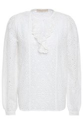 Vanessa Bruno Woman Lili Rose Ruffle Trimmed Broderie Anglaise Cotton Blouse White