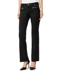 Inc International Concepts Petite Zip Pocket Flared Trousers Only At Macy's Deep Black