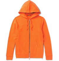 Balmain Slim Fit Loopback Cotton Jersey Hoodie Orange