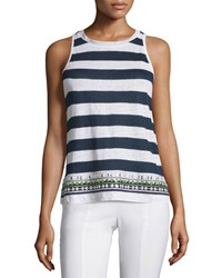 Tory Burch Jacki Striped Tank With Embellished Hem Women's Tory Navy Brushed