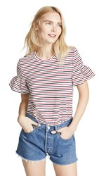 English Factory Smocked Striped Tee Navy Red