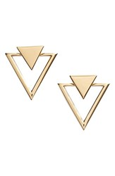 Women's Nadri Triangle Stud Earrings Gold