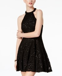 B. Darlin B Juniors' Sequined Lace Halter Dress Black