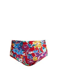 Araks Mallory High Rise Liberty Print Bikini Briefs Red Multi
