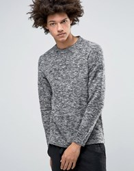Selected Homme Plus Sweat With Crew Neck And Mixed Yarn Detail Dark Grey