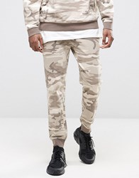 Asos Skinny Jogger In Beige Washed Camo Beige