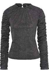 Walter Baker Woman Valerie Ruched Metallic Stretch Knit Top Black