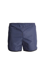Robinson Les Bains Cambridge Long Geometric Print Swim Shorts Blue Multi