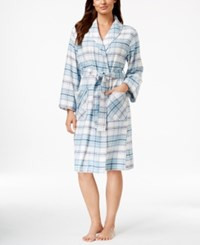 Jockey Plaid Short Robe Light Blue Plaid