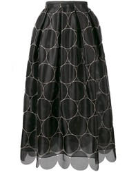 Rochas Circle Pattern Full Skirt Black