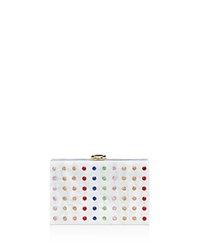Milly Rhinestone Box Clutch White Multi Gold